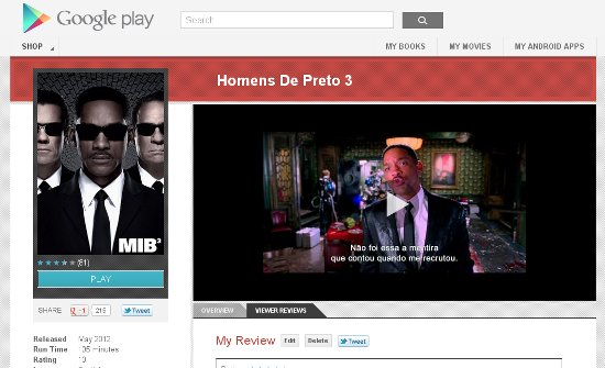 Aluguel de filmes pelo Google Play