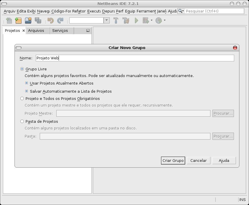 Criando um Grupo de Projetos no NetBeans