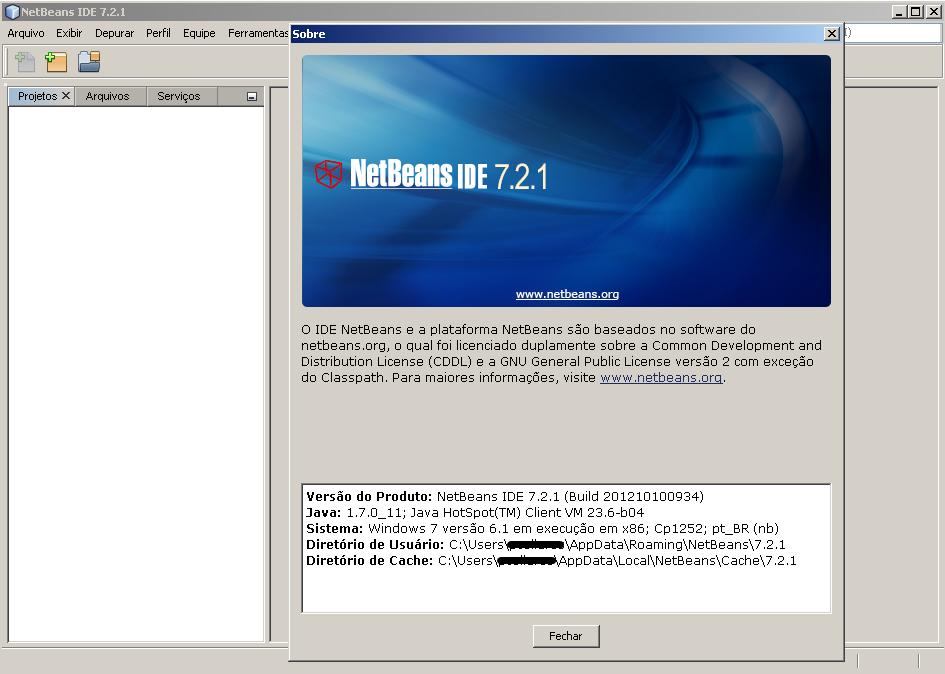 Sobre do NetBeans