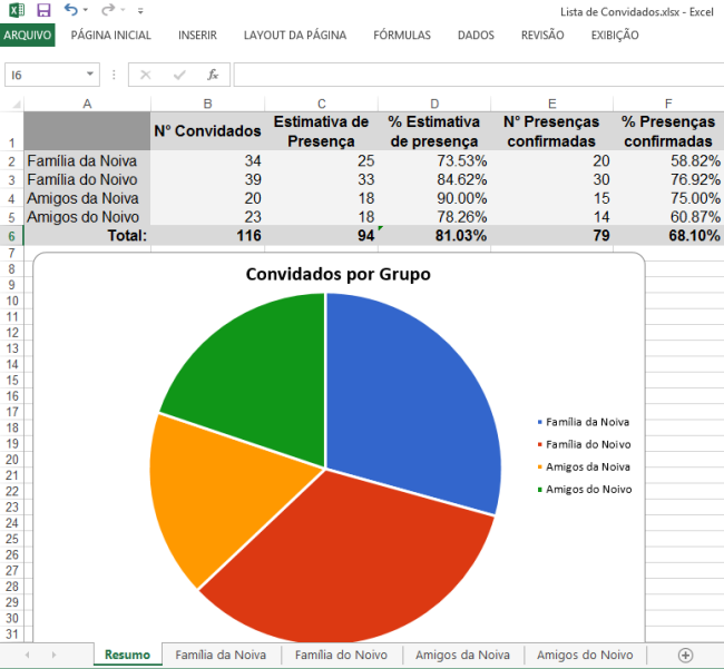 Modelo de lista de convidados para casamento no Excel