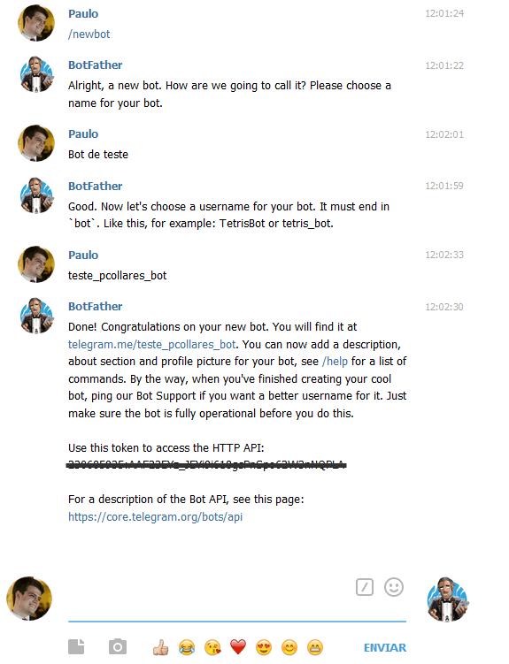 Criando um bot no BotFather